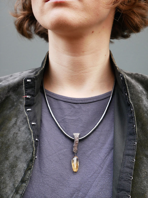WES186, Heat textured haematite and citrine necklace