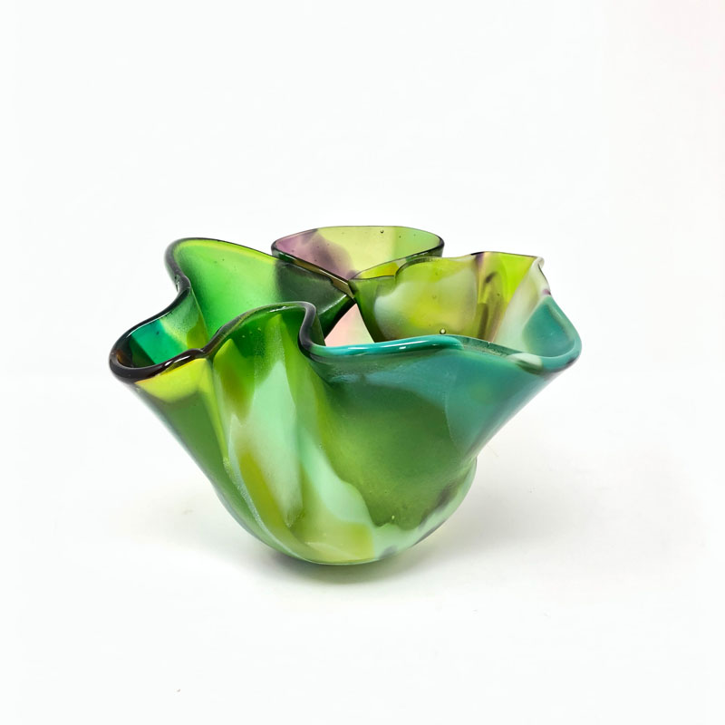 SHI300, Green Squeeze and fold Vase