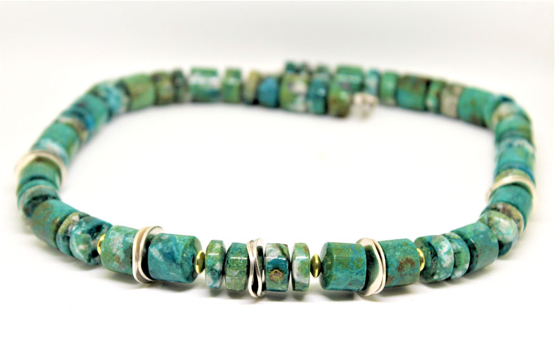 KEI031, Chrysocolla Necklace with Silver