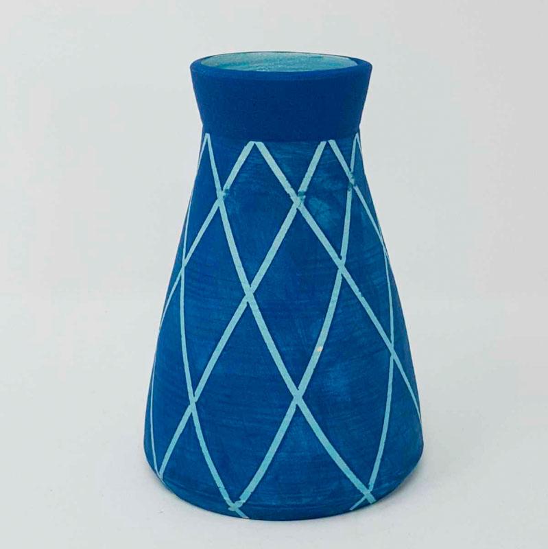 BRI111, Teal on Turquoise Circus Vase