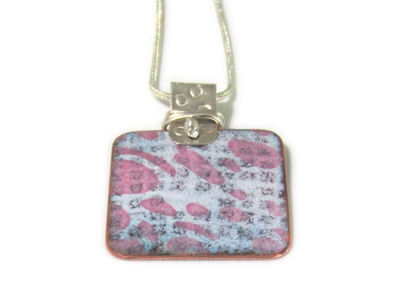 MCA140, Small Square Pink Multi Pendant