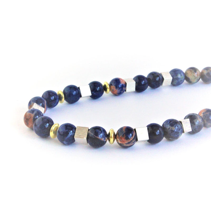 KEI006, Necklace Sodalite with S/Silver