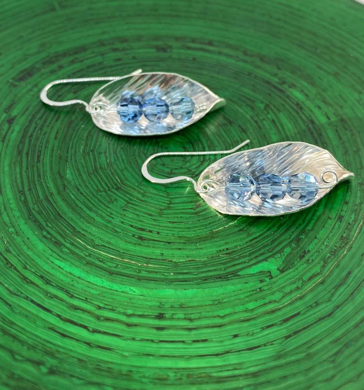 POW016, Leaf Blue Crystal Earrings
