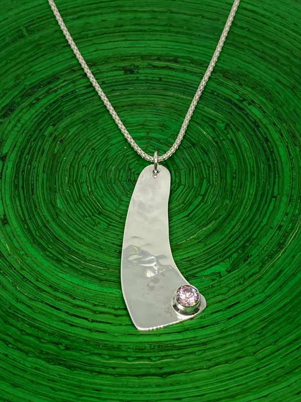 POW035, Pink CZ Crystal Silver Necklace