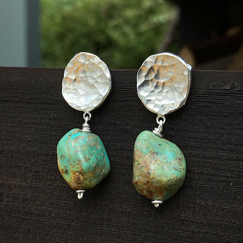 WES174, Hammered silver and turquoise earrings