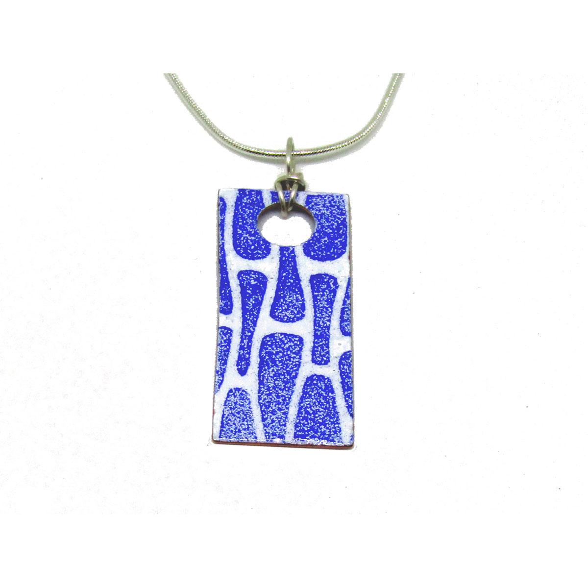 MCA151, Dark Sapphire Enamel Rectangle Pendant