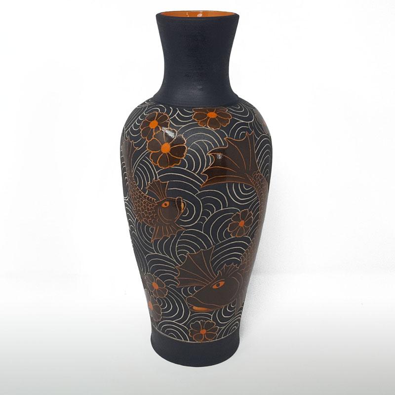 BRI064, Tall Fighting Fish Vase, Black