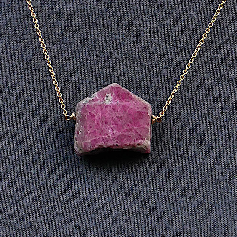 WES194, Rough ruby gold filled necklace