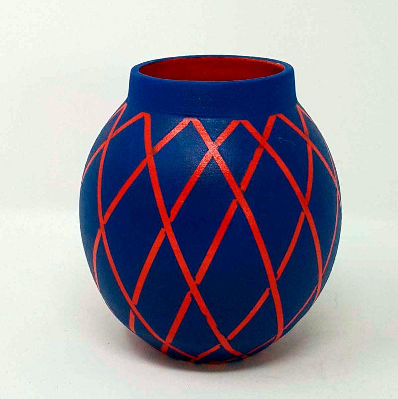 BRI112, Teal on Red Circus Moon Jar