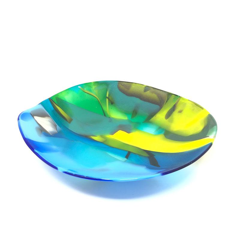 SHI343, Abstract Blue/Green Yellow bowl