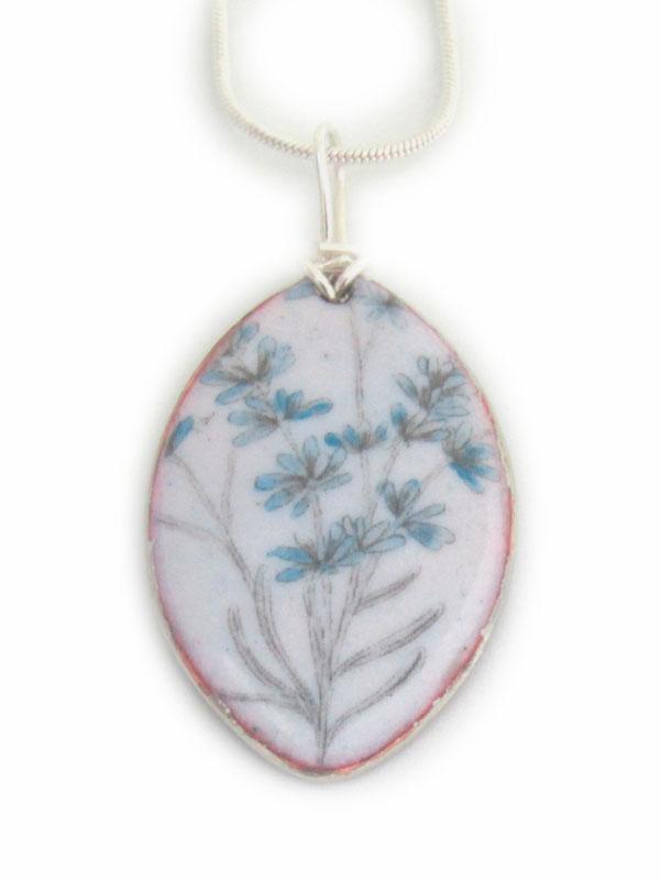 MCA156, Blue Floral Pendant