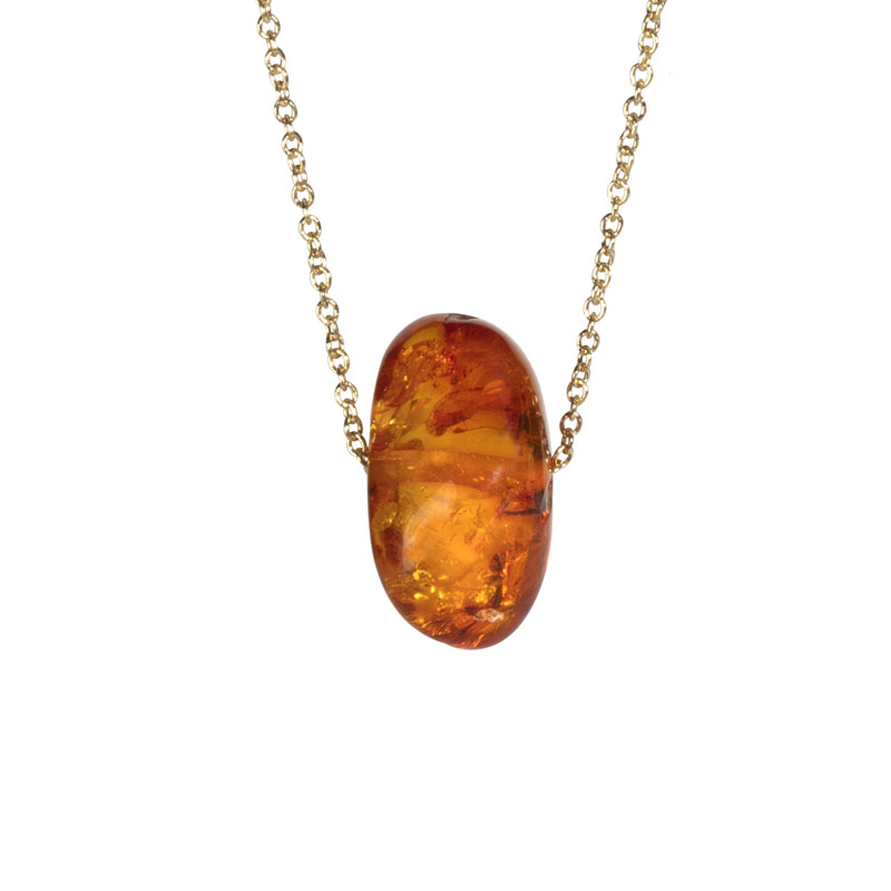 WES106, Reflected Sunlight Amber Chunk necklace