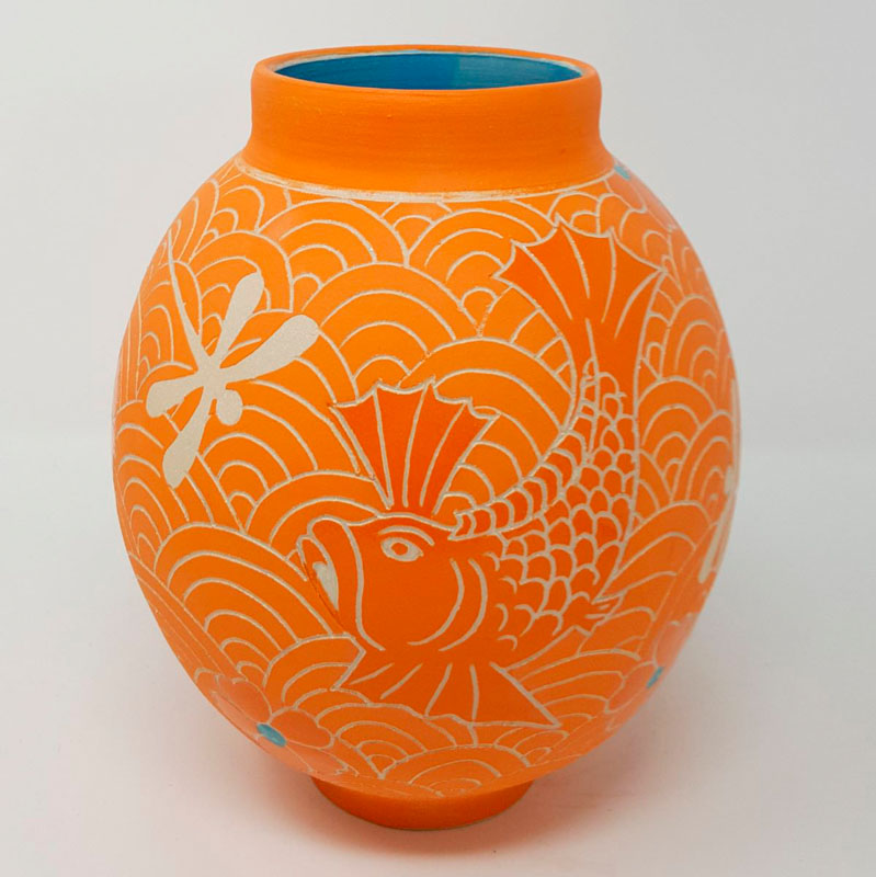 BRI103, Orange Moon Jar with Fish