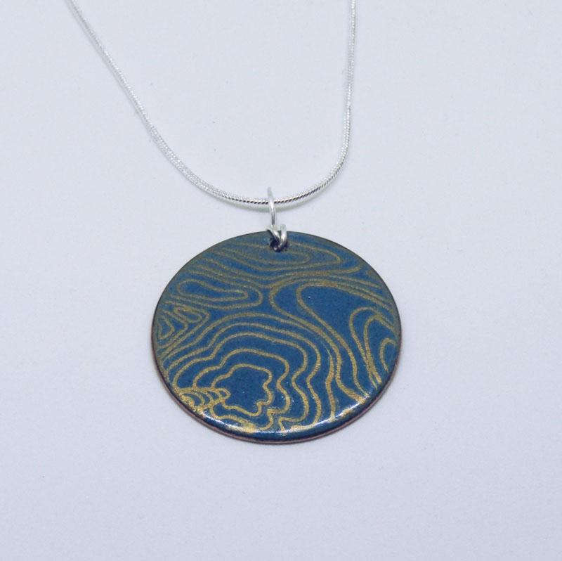 MCA209, Etruscan blue and gold enamel pendant