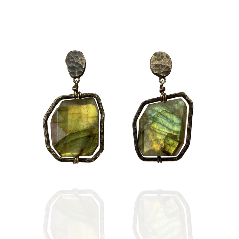 WES217, Oxidised labradorite earrings
