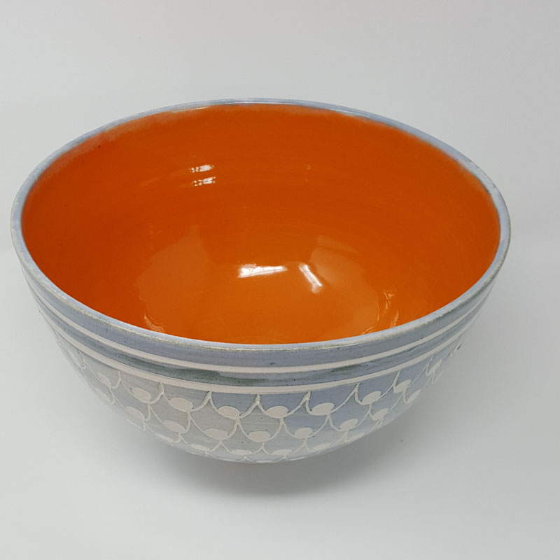 BRI062, Grey Carved Bowl with Orange Interior
