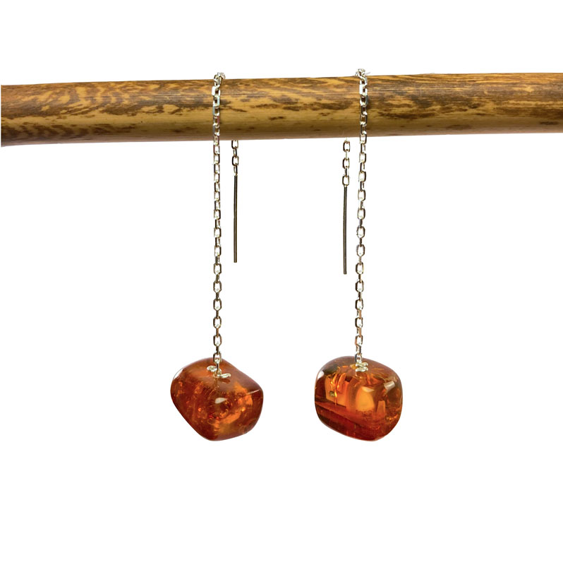 WES113, Reflected Moonlight Amber Chunk threader earrings