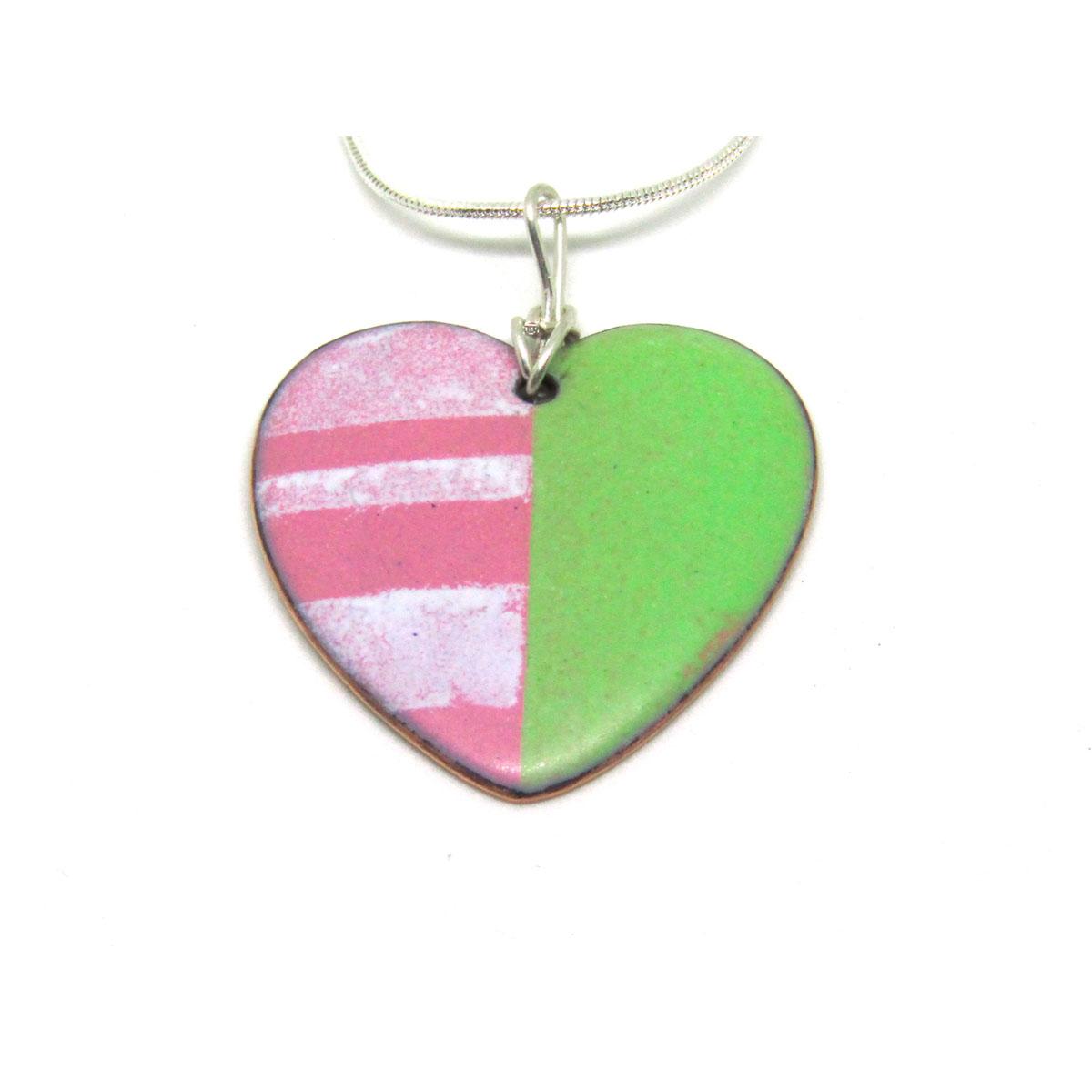 MCA153, Pink and Green Matt Heart Pendant