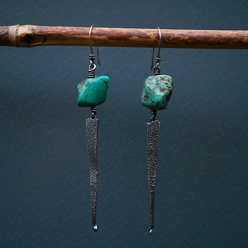 WES181, Heat textured turquoise earrings