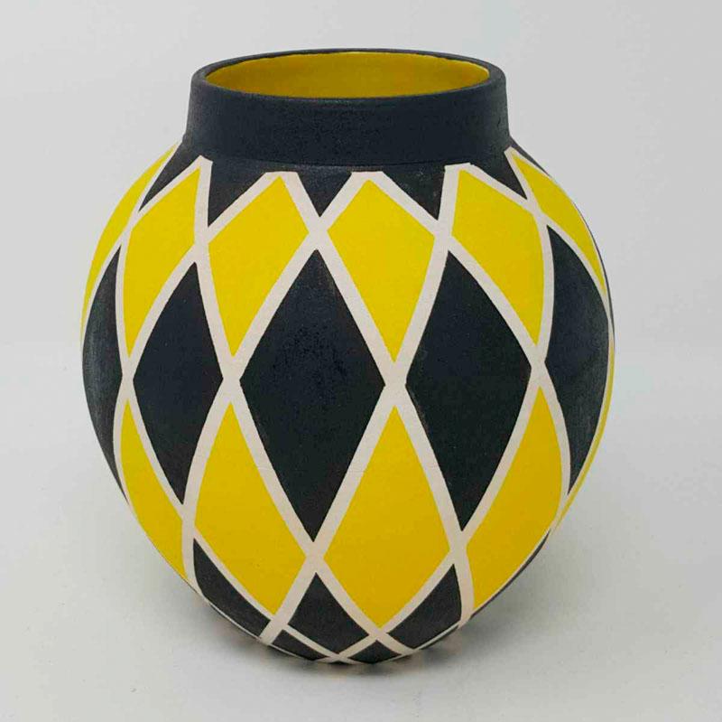 BRI105, Yellow Harlequin Moon Jar