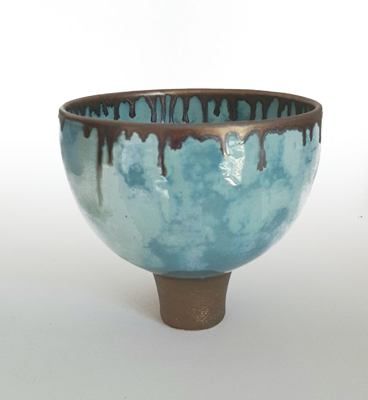 BRI063, Summer Clouds Footed Bowl