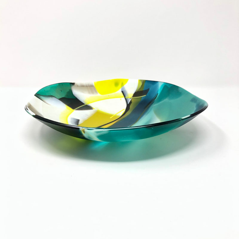 SHI306, Abstract Green/Yellow Bowl