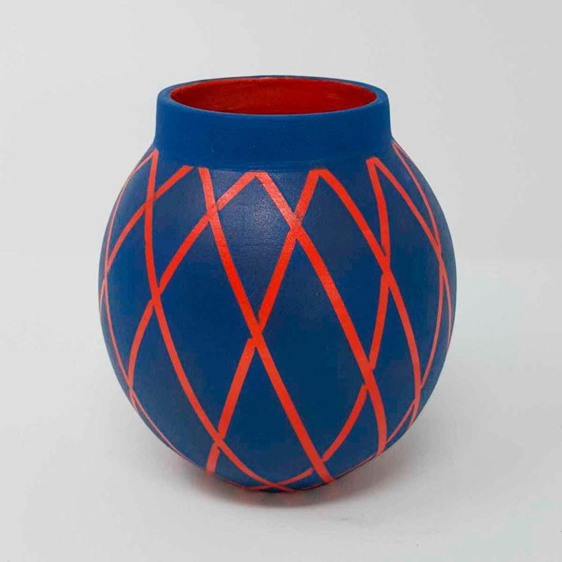 BRI106, Blue on Red Circus Moon Jar