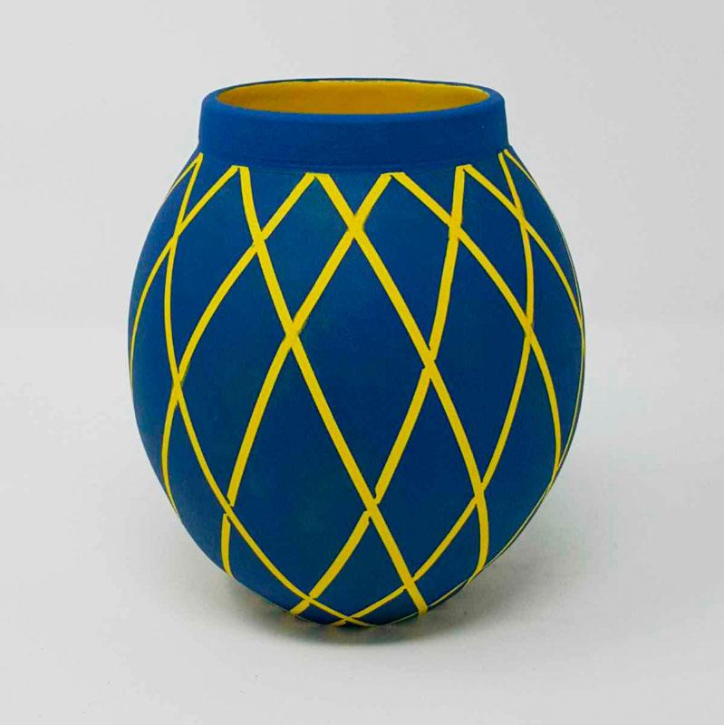BRI107, Teal on Yellow Circus Moon Jar