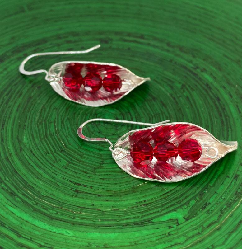 POW015, Leaf Red Crystal Earrings