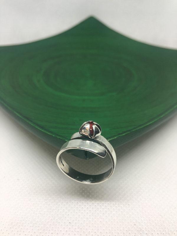 POW022, Red Jade Star Set Adjustable Ring