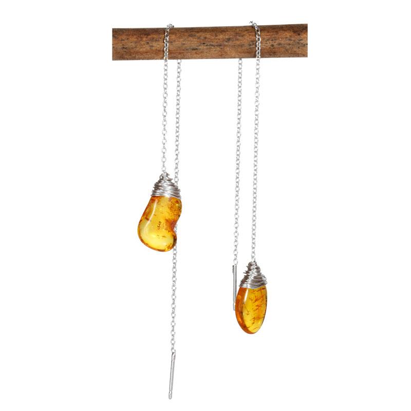 WES115, Reflected Moonlight Amber Drop threader earrings