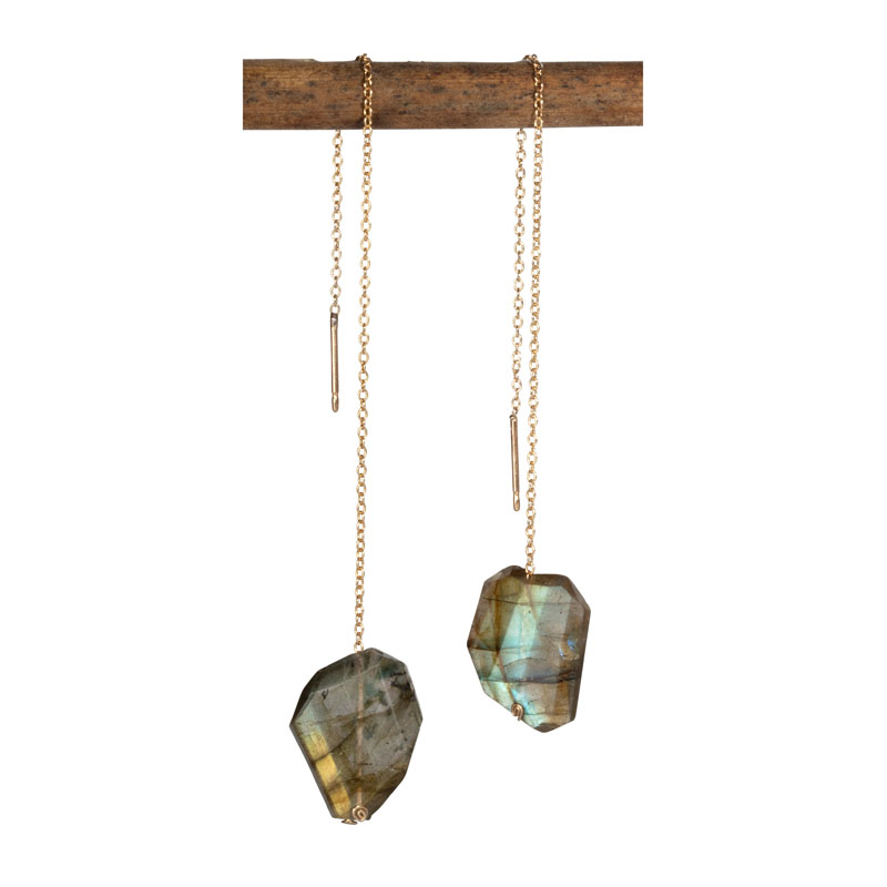 WES031, Reflected Sunlight Labradorite threader earrings