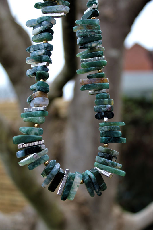 KEI057, Necklace Moss Agate Sterling Silver