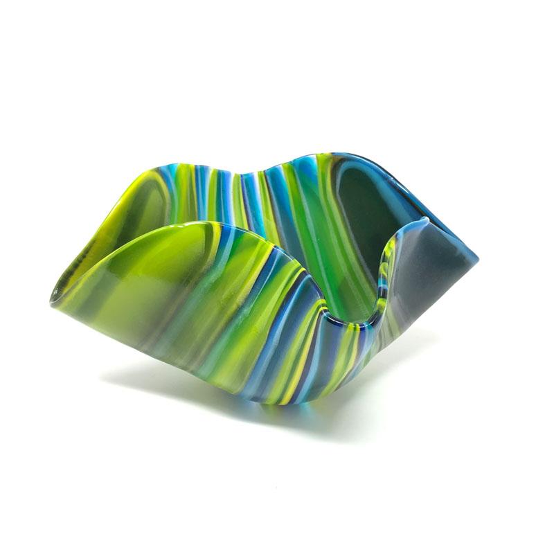SHI325, Medium Striped Blue Drape