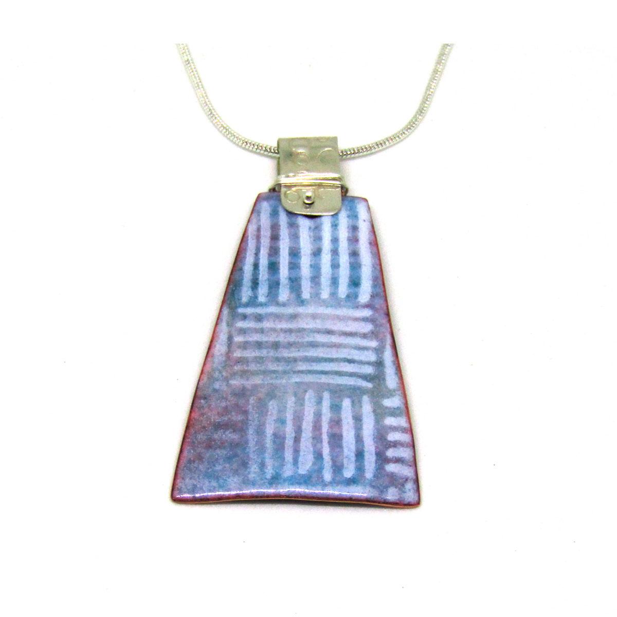 MCA154, Pale Blue and White Stripe Pendant
