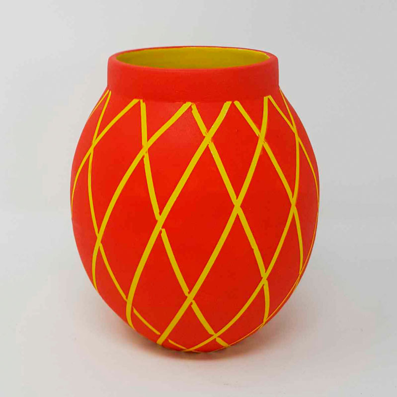 BRI108, Red on Yellow Circus Moon jar