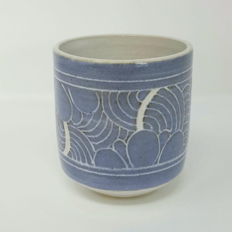 BRI051, Grey Carved Yunomi