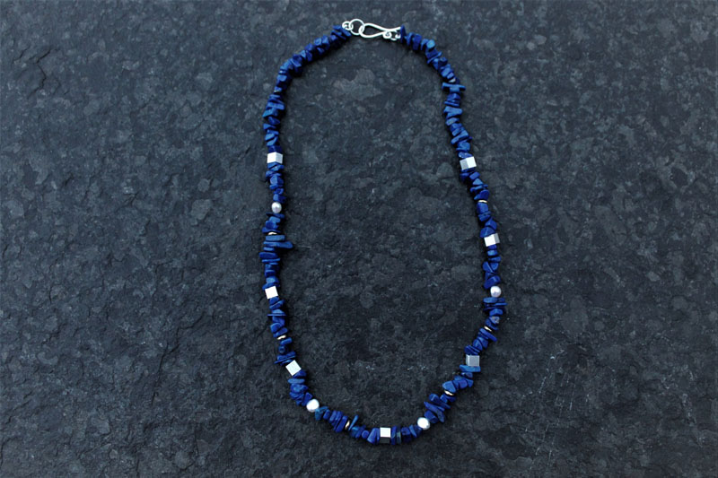 KEI060, Necklace Lapis Lazuli Sterling Silver with Freshwater Pearls