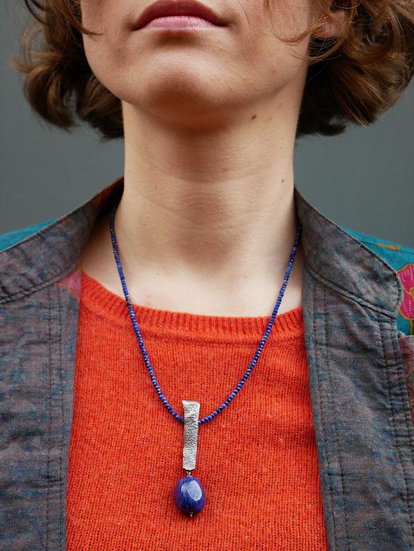 WES187, Heat textured lapis lazuli necklace