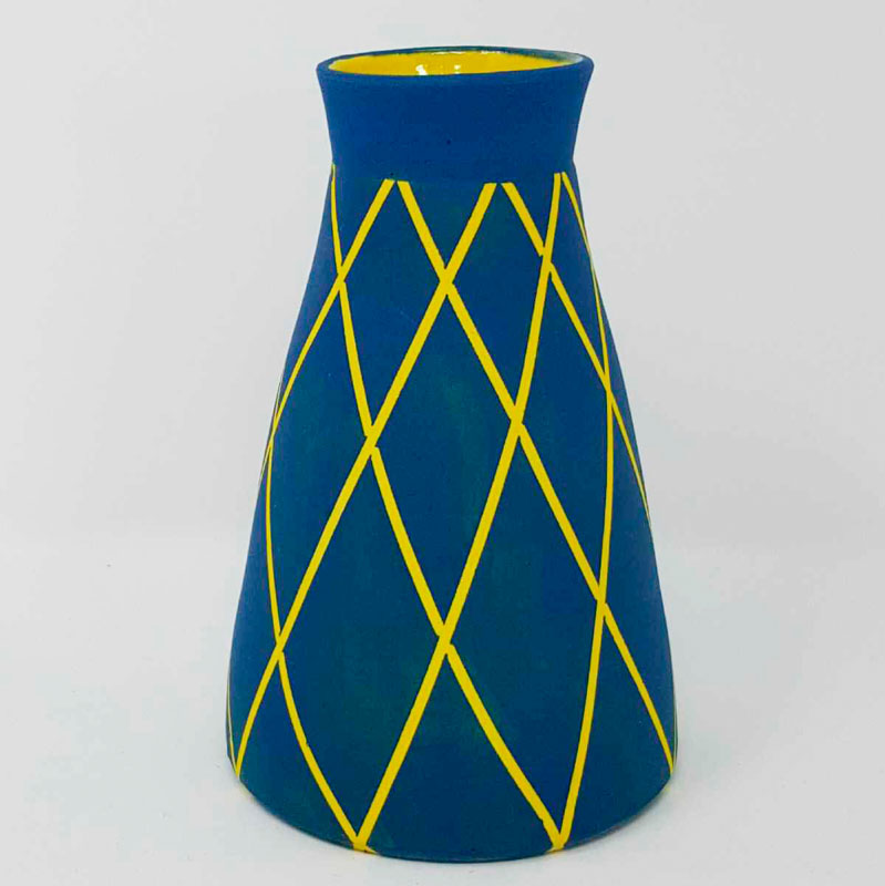 BRI109, Teal on Yellow Circus Vase