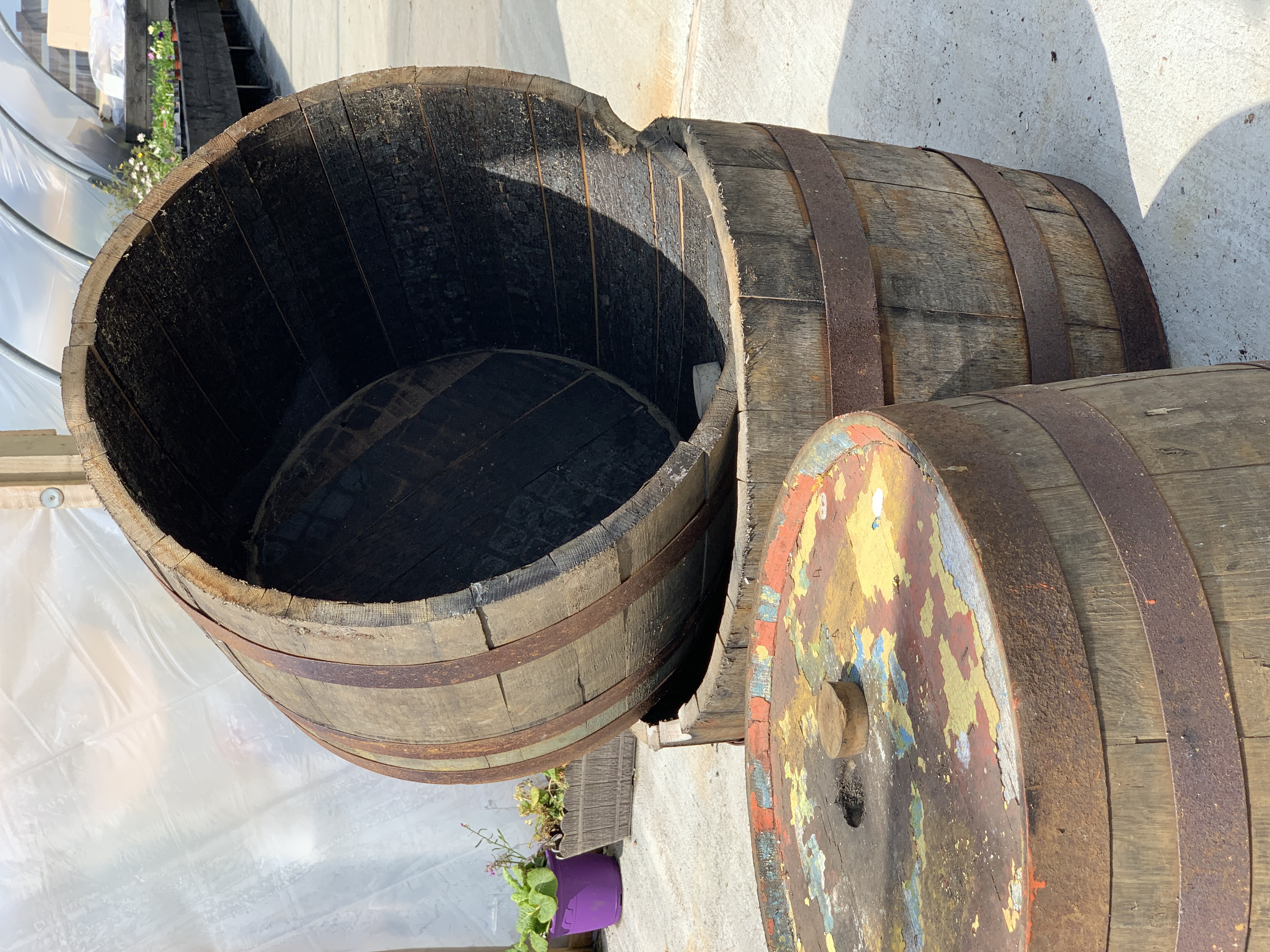 Single Oak Half Whisky Barrel Planter