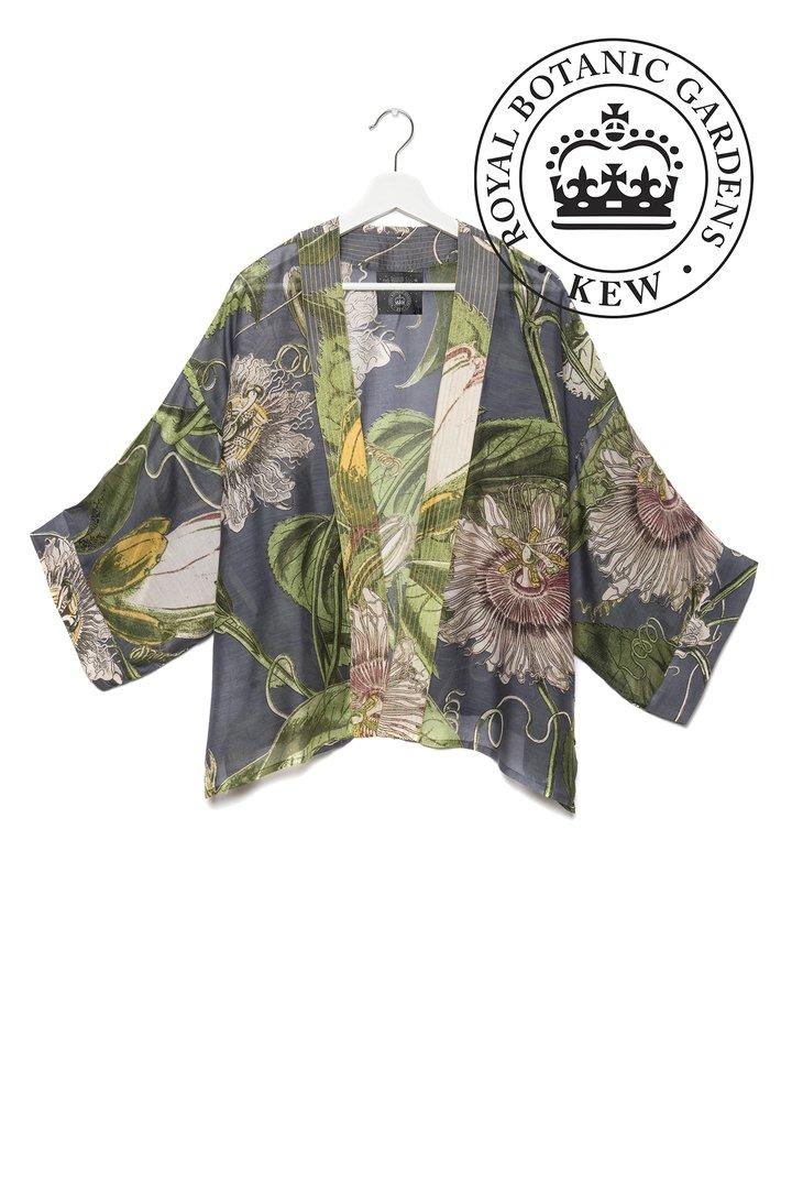 OHS X KEW RBG Passion Flower Grey Kimono