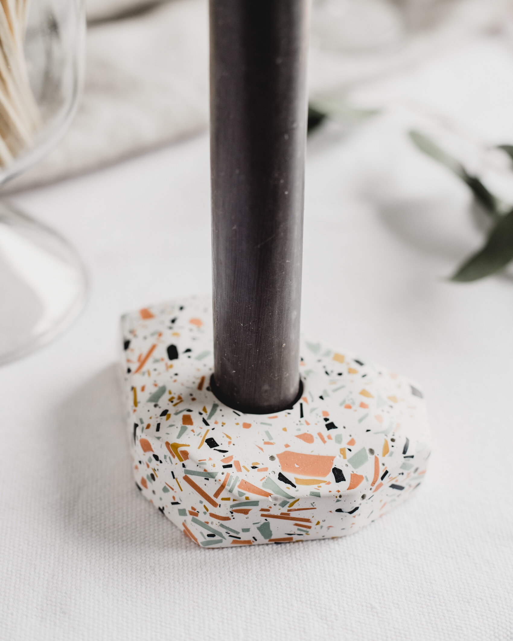 Speckle terrazzo dinner candle holder