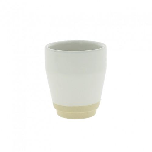 Part-dipped Cream Stoneware Vase - Cup/Cream