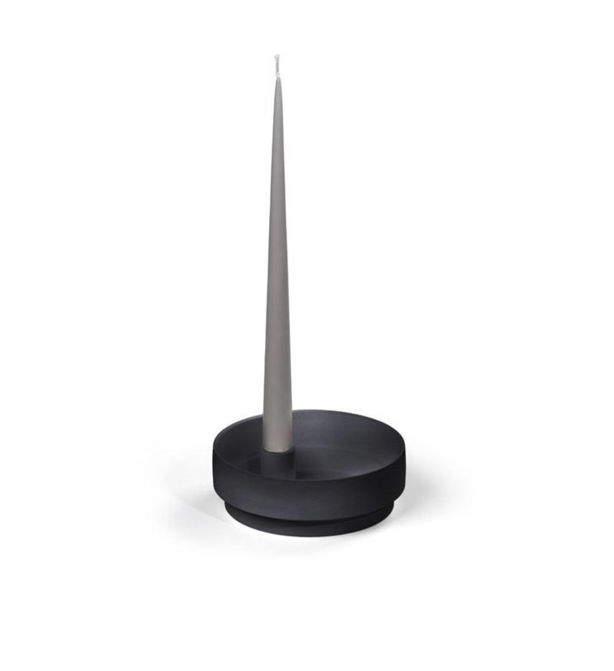 Orbital Step Black Candle Holder in Matte Clay - Medium