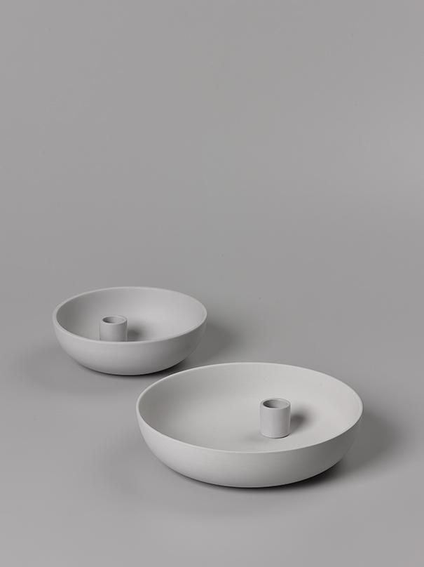 Orbital Grey Candle Holder Large or Medium Matte Clay