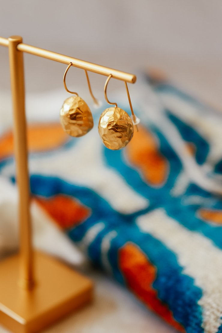 Hammered dome drop earrings