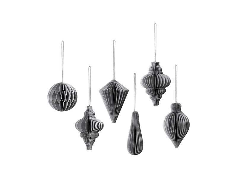 6 Set Paper Hanging Decs - Silver/Grey