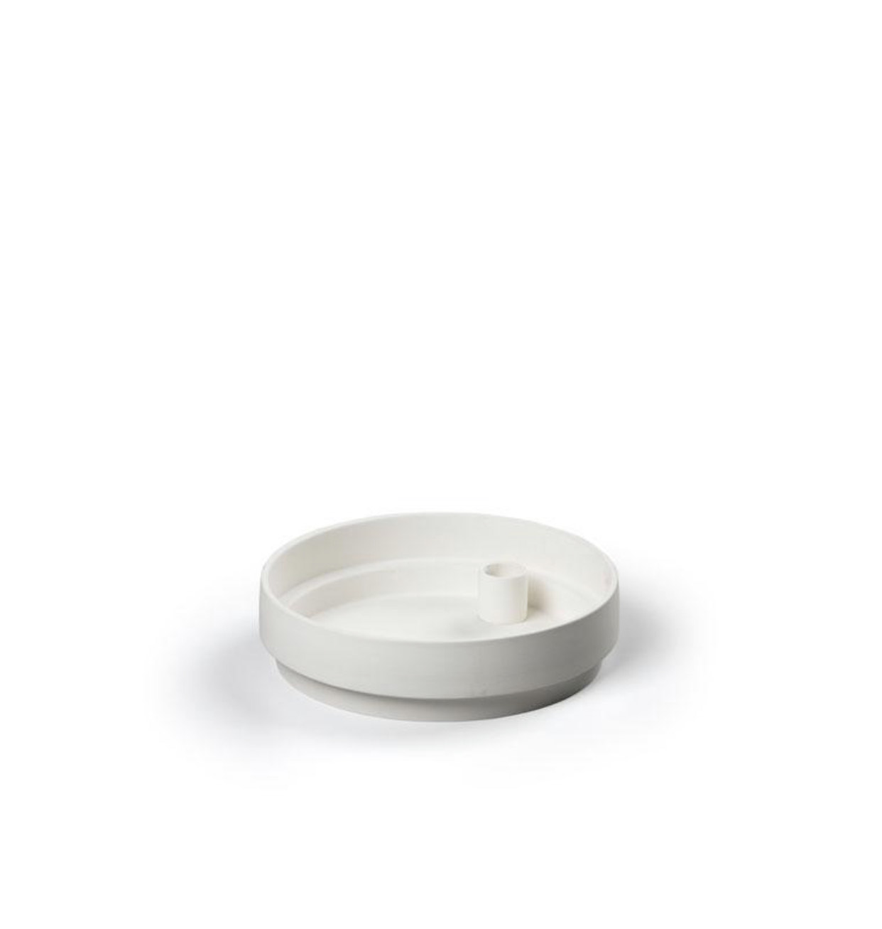 Orbital Step White Candle Holder in Matte Clay - Large