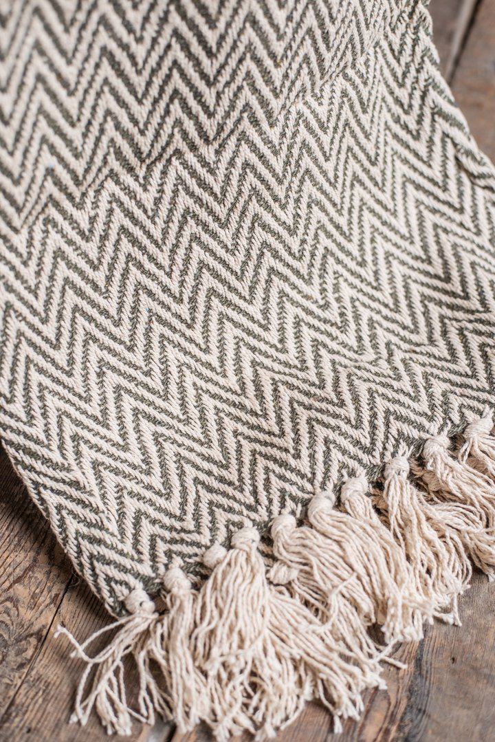 Dusky Green Cotton Herringbone Throw
